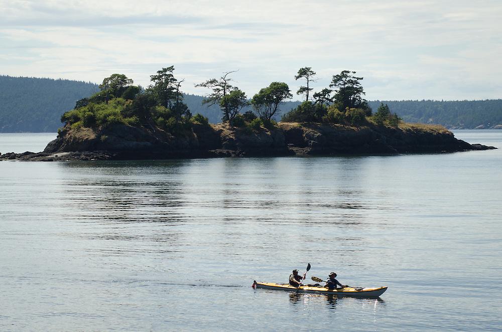 Kayakers near Orcas Island in Washington.