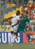 Photo: Steve Bond/Richard Lane Photography.<br /> Ghana v Morocco. Africa Cup of Nations. 28/01/2008. Sulley Muntari (L) and Michael Basser (R) in the air