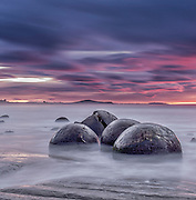 One of my favourite locations on the drive from Christchurch to Dunedin, the Moeraki Boulders always seen to have something to offer, and this cold sunrise shoot was not exception. The long exposure time (67 seconds) provided the nice soft silky feel to the incoming swell...  And the sunrise provided plenty of colour to round it all off.