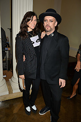 BELLA FREUD and BOY GEORGE at a party to kick off London Fashion Week hosted by US Ambassador Matthew Barzun and Mrs Brooke Brown Barzun with Alexandra Shulman in association with J.Crew hrld at Winfield House, Regent's Park, London on 18th September 2015.
