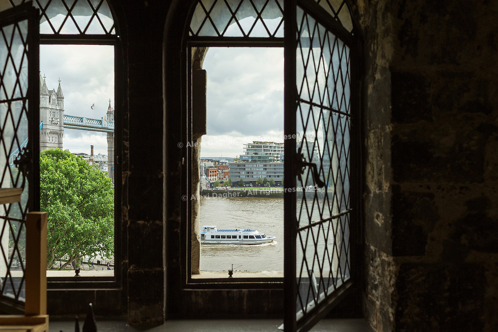 View from the White Tower (Tower Of London) of Tower Bridge and the Thames - London, England, 2016
