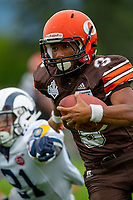 KELOWNA, BC - SEPTEMBER 8:  Running back Malcolm Miller #3 of Okanagan Sun runs with the ball after the hand off against the Langley Rams  at the Apple Bowl on September 8, 2019 in Kelowna, Canada. (Photo by Marissa Baecker/Shoot the Breeze)
