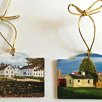 Canterbury Shaker Village ornament.<br /> Doubled Sided Photographic Prints on Thick Stock and a Gold Ribbon.<br /> Proudly Made in USA
