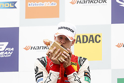 September 23, 2018 - Spielberg, Austria - MICK SCHUMACHER of Germany and Prema Theodore Racing is seen on the podium after winning the 2018 FIA Formula 3 European Championship race 2 at the Red Bull Ring in Spielberg, Austria. (Credit Image: © James Gasperotti/ZUMA Wire)