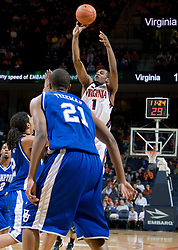 Virginia guard Jeff Jones (1) shoots against Hampton.  The Virginia Cavaliers men's basketball team defeated the Hampton Pirates 79-65 at the John Paul Jones Arena in Charlottesville, VA on December 19, 2007.