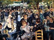 Bal du moulin de la Galette' (Dance at the Moulin de la Galette), 1876. Oil on canvas. Pierre-Auguste Renoir (1841-1919) French painter. Crowded scene at the open-air dance garden, Butte Montmartre, Paris, France.
