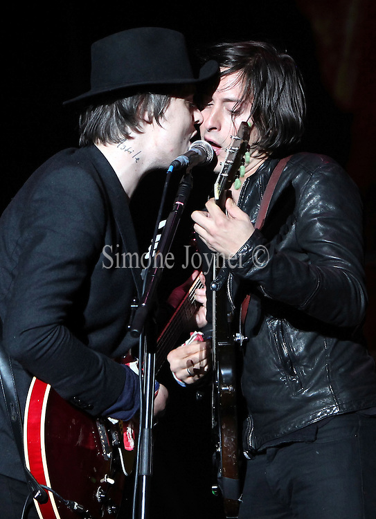 Pete Doherty and Carl Barat of The Libertines performs live on the Main stage during day Two of Reading Festival on August 28, 2010 in Reading, England.  (Photo by Simone Joyner)