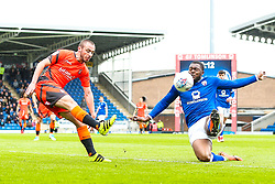 Michael Harriman of Wycombe Wanderers crosses the ball past Jerome Binnom-Williams of Chesterfield - Mandatory by-line: Robbie Stephenson/JMP - 28/04/2018 - FOOTBALL - Proact Stadium - Chesterfield, England - Chesterfield v Wycombe Wanderers - Sky Bet League Two