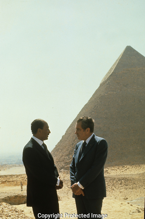 President Nixon and Awar Sadat talk at the pyramids in July 1974..Photograph by Dennis Brack bb 27