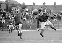 Isaac Andrews, footballer, Linfield FC, Belfast, N Ireland, right, heading the ball. Who is the other player on the left? Email me if you can help. 196908000222IA<br /> <br /> Copyright Image from Victor Patterson, 54 Dorchester Park, <br /> Belfast, UK, BT9 6RJ<br /> <br /> t1: +44 28 9066 1296 (from Rep of Ireland 048 9066 1296)<br /> t2: +44 28 9002 2446 (from Rep of Ireland 048 9002 2446)<br /> m: +44 7802 353836<br /> <br /> e1: victorpatterson@me.com<br /> e2: victorpatterson@gmail.com<br /> <br /> www.victorpatterson.com<br /> <br /> Please see my Terms and Conditions of Use at www.victorpatterson.com. It is IMPORTANT that you familiarise yourself with them.<br /> <br /> Images used on the Internet must be visibly watermarked i.e. © Victor Patterson within the body of the image and copyright metadata must not be deleted. Images used on the Internet have a size restriction of 4kbs and will be chargeable at current NUJ rates unless agreed otherwise.<br /> <br /> This image is only available for the use of the download recipient i.e. television station, newspaper, magazine, book publisher, etc, and must not be passed on to any third party. It is also downloaded on condition that each and every usage is notified within 7 days to victorpatterson@me.com<br /> <br /> The right of Victor Patterson to be identified as the author is asserted in accordance with The Copyright Designs And Patents Act (1988).