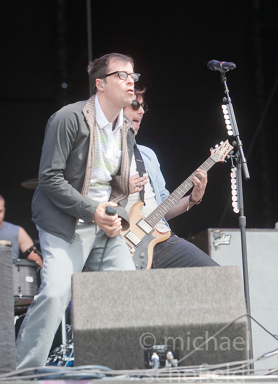 Rivers Cuomo of Weezer, joins Alexander Gaskarth, All Time Low play the Main Stage, T in the Park on Sunday 10th July 2011. T in the Park 2011 music festival takes place from 7-10th July 2011 in Balado, Fife, Scotland..©Pic : Michael Schofield.