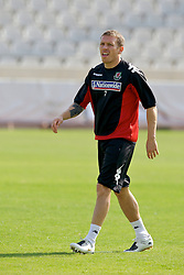Nicosia, Cyprus - Friday, October 12, 2007: Wales' captain Craig Bellamy training - only days after undergoing groin surgery - at the new GPS Stadium ahead of their UEFA Euro 2008 Qualifying match against Cyprus in Nicosia. (Photo by David Rawcliffe/Propaganda)