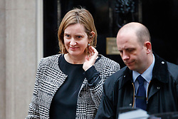 © Licensed to London News Pictures. 08/01/2018. London, UK. Home Secretary Amber Rudd leaves Downing Street following a cabinet reshuffle on Monday, 8 January 2018. Photo credit: Tolga Akmen/LNP