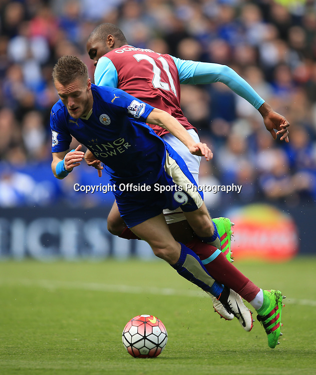 17 April 2016 - Barclays Premier League - Leicester City v West Ham United - Jamie Vardy of Leicester City is shown a 2nd yellow card for simulation during this challenge- Photo: Marc Atkins / Offside.
