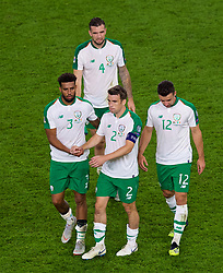 CARDIFF, WALES - Thursday, September 6, 2018: Republic of Ireland's Cyrus Christie, Shane Duffy, captain Séamus Coleman and Enda Stevens look dejected after losing 4-1 to Wales during the UEFA Nations League Group Stage League B Group 4 match between Wales and Republic of Ireland at the Cardiff City Stadium. (Pic by Laura Malkin/Propaganda)