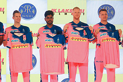 March 22, 2019 - Jaipur, Rajasthan, India - (L to R ) Rajasthan Royals players  Steve Smith , Sanju Samson , Ben Strokes and Jos Butler during the team jersey unveiled ceremony ahead the IPL 2019 matches  in Jaipur, Rajasthan, India  on March 22,2019. (Credit Image: © Vishal Bhatnagar/NurPhoto via ZUMA Press)