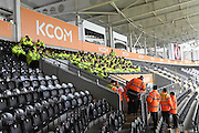 Over 120 event staff receive briefing before the Premier League match between Hull City and Southampton at the KCOM Stadium, Kingston upon Hull, England on 6 November 2016. Photo by Ian Lyall.
