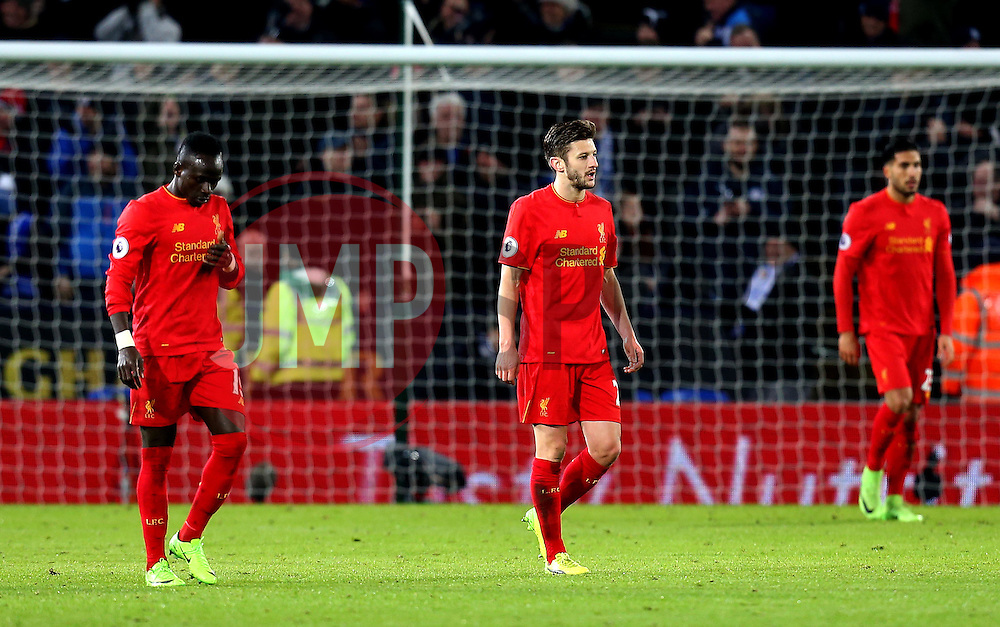 Liverpool players look frustrated after conceding a third goal to Leicester City - Mandatory by-line: Robbie Stephenson/JMP - 27/02/2017 - FOOTBALL - King Power Stadium - Leicester, England - Leicester City v Liverpool - Premier League