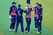 England womens cricket player Katherine Brunt celebrates her wicket during the ICC Women's World Cup match between England and Pakistan at the Fischer County Ground, Grace Road, Leicester, United Kingdom on 27 June 2017. Photo by Simon Davies.