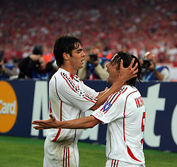 Athens, Greece - Wednesday, May 23, 2007: AC Milan's Filippo Inzaghi and Kaka celebrate scoring the second goal against Liverpool during the UEFA Champions League Final at the OACA Spyro Louis Olympic Stadium. (Pic by Chris Ratcliffe/ Propaganda)