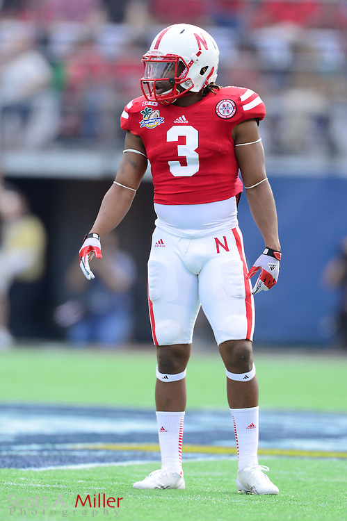 Nebraska Cornhuskers safety Daimion Stafford (3) during the Huskers 45-30 loss to the Georgia Bulldogs in the Capital One Bowl at the Florida Citrus Bowl on Jan 1, 2013 in Orlando, Florida. ..©2012 Scott A. Miller..