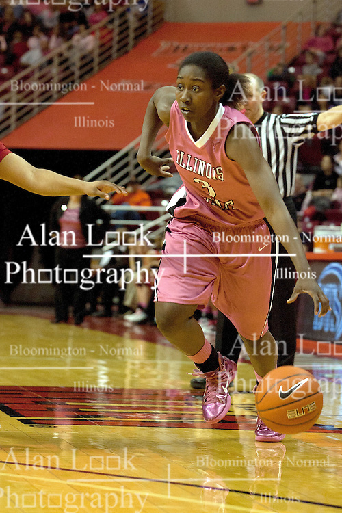 12 February 2012:  Candace Sykes during an NCAA women's basketball game Where the Bradley Braves lost to the Illinois Sate Redbirds 82-63.  It was Play 4Kay day in honor of the cancer research fund set up by Coach Kay Yow at Redbird Arena in Normal IL