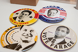 © Licensed to London News Pictures. 22/04/2015. Piccadilly, London. The Jealous Gallery makes some topical election-orientated badges for the 30th London Original Print Fair, Europe's largest works–on–paper event, which takes place at the Royal Academy of Arts from 23 to 26 April 2015.  On display are works from all periods of printmaking, from the earliest woodcuts of Dürer, to the latest editions by contemporary masters. Photo credit : Stephen Chung/LNP