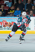 KELOWNA, CANADA - APRIL 8: Nick Merkley #10 of the Kelowna Rockets skates with the puck against the Portland Winterhawks on April 8, 2017 at Prospera Place in Kelowna, British Columbia, Canada.  (Photo by Marissa Baecker/Shoot the Breeze)  *** Local Caption ***