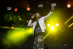 © Licensed to London News Pictures . 07/06/2015 . Manchester , UK . Dynamite MC ( Dominic Smith ) on stage at The Parklife 2015 music festival in Heaton Park , Manchester . Photo credit : Joel Goodman/LNP