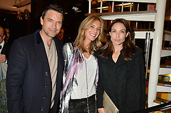 Left to right, DOUGRAY SCOTT, KIM HERSOV and CLAIRE FORLANI at a dinner in honour of Christy Turlington hosted by Porter magazine at Mr Chow, Knightsbridge, London on 18th November 2014.