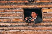 Darkhad in log cabin<br /> Darkhad Depression<br /> Northern Mongolia