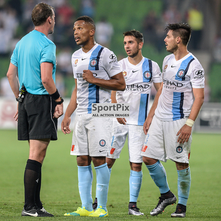 Harry Novillo of Melbourne City, Michael Zullo of Melbourne City, Bruno Fornaroli of Melbourne City,  Hyundai A-League, January 25th 2016, RD16 match between Melbourne City FC v Wellington Phoenix FC in a 3:01 win to City  at Aami Park,  Melbourne, Australia. © Mark Avellino | SportPix.org.uk