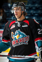 KELOWNA, CANADA - OCTOBER 18: Colton Heffley #25 of the Kelowna Rockets warms up on the ice as the Prince George Cougars visit the Kelowna Rockets on October 18, 2012 at Prospera Place in Kelowna, British Columbia, Canada (Photo by Marissa Baecker/Shoot the Breeze) *** Local Caption ***