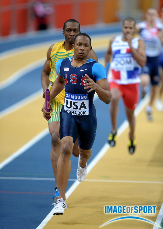 Mar 13, 2010; Doha, QATAR; Tavaris Tate runs the third leg on the United States 4 x 400m relay that won its heat in 3:05.78 in the IAAF World Indoor Championships in Athletics at the Aspire Dome.