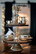 Decorative Turkish coffee containers are displayed at Meze Mediterranean Cuisine in Sun Praire, WI on Thursday, May 2, 2019.