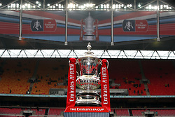 File photo dated 07-04-2019 of General view of the FA Cup trophy