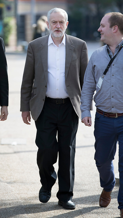 © Licensed to London News Pictures. 15/05/2016. London, UK.  Labour party leader Jeremy Corbyn (L) arrives to appear on ITV's Peston's Politics. Photo credit: Peter Macdiarmid/LNP