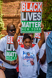 August 19, 2017 - Brooklyn, NY, United States - Over a hundred people gathered in front of the home of recent NYPD victim Dwayne Juene in Flatbush, Brooklyn, on August 19, 2017; to protest the killing of the mentally ill by NYPD. After a brief press conference, relatives of victims and advocacy groups led a march to the 67th Precinct where Officer Miguel Gonzalez is based. (Credit Image: © Erik Mcgregor/Pacific Press via ZUMA Wire)