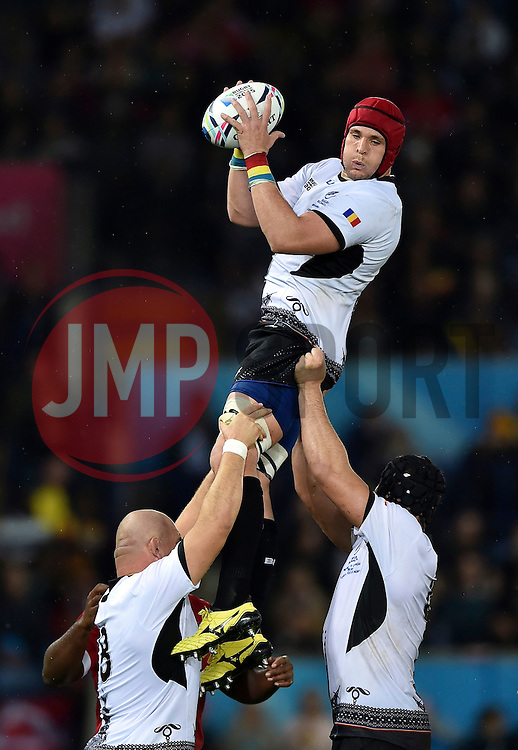 Johannes van Heerden of Romania wins the ball at a lineout - Mandatory byline: Patrick Khachfe/JMP - 07966 386802 - 06/10/2015 - RUGBY UNION - Leicester City Stadium - Leicester, England - Canada v Romania - Rugby World Cup 2015 Pool D.