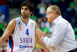 Milos Teodosic of Serbia and coach Dusan Ivkovic during basketball game between National basketball teams of Serbia and Turkey at FIBA Europe Eurobasket Lithuania 2011, on September 11, 2011, in Siemens Arena,  Vilnius, Lithuania. Serbia defeated Turkey 68-67. (Photo by Vid Ponikvar / Sportida)