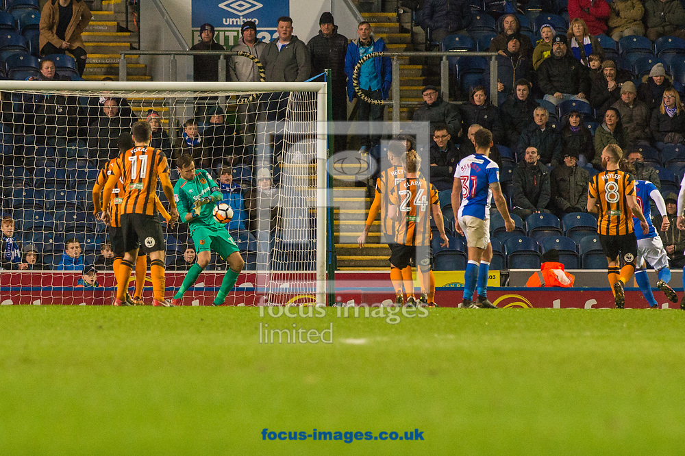 Hull City goalkeeper David Marshall with a point blank save during the FA Cup match at Ewood Park, Blackburn<br /> Picture by Matt Wilkinson/Focus Images Ltd 07814 960751<br /> 06/01/2018