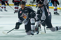 KELOWNA, BC - JANUARY 4: Brenden Pentecost #24 and Justin Sourdif #42 of the Vancouver Giants stretch on the ice during warm up against the Kelowna Rockets at Prospera Place on January 4, 2020 in Kelowna, Canada. (Photo by Marissa Baecker/Shoot the Breeze)
