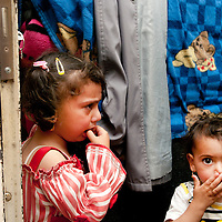 Jordan . Amman. Refugees from Syria. April 15th 2013. Zeinab and her cousin.