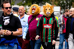 Aston Villa fans arrive at Wembley for the Sky Bet Playoff Final against Derby County wearing lion masks - Mandatory by-line: Robbie Stephenson/JMP - 27/05/2019 - FOOTBALL - Wembley Stadium - London, England - Aston Villa v Derby County - Sky Bet Championship Play-off Final