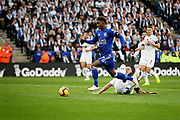 Leicester City midfielder Demarai Gray (7) is through but his shot is saved by Burnleys Joe Hart during the Premier League match between Leicester City and Burnley at the King Power Stadium, Leicester, England on 10 November 2018.