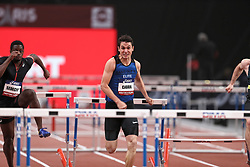 February 7, 2018 - Paris, Ile-de-France, France - From left to right : Benjamin Sedecias of France and  Jonathan Cabral of Canada compete in 60m Hurdles during the Athletics Indoor Meeting of Paris 2018, at AccorHotels Arena (Bercy) in Paris, France on February 7, 2018. (Credit Image: © Michel Stoupak/NurPhoto via ZUMA Press)
