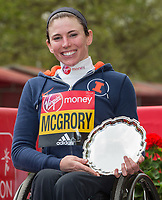 Amanda McGrory USA smiles with her salver after earning second place in the Elite Wheelchair Women's Race. The Virgin Money London Marathon, 23rd April 2017.<br /> <br /> Photo: Jed Leicester for Virgin Money London Marathon<br /> <br /> For further information: media@londonmarathonevents.co.uk