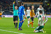 Yellow card for Allan McGregor of Hull City for foul on Kieffer Moore of Barnsley during the EFL Sky Bet Championship match between Hull City and Barnsley at the KCOM Stadium, Kingston upon Hull, England on 27 February 2018. Picture by Craig Zadoroznyj.