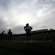 Craig Bunker #22 of the Boston Cannons warms up prior to the game at Harvard Stadium on May 10, 2014 in Boston, Massachusetts. (Photo by Elan Kawesch)