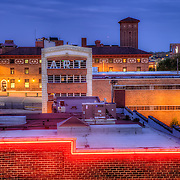 On top of a garage at 18th & Main in downtown Kansas City looking east.